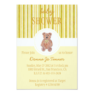 Teddy Bear Sketch Baby Shower Invitation - Yellow