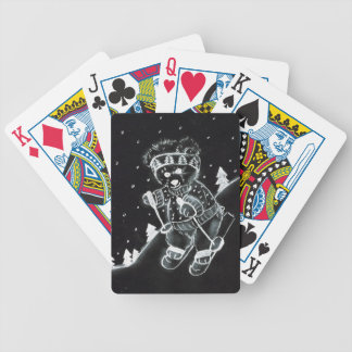 Teddy Bear Skiing in Black and White Bicycle Playing Cards
