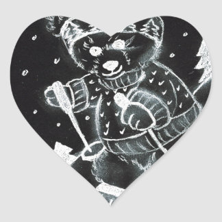 Teddy Bear Skiing in black and white Heart Sticker
