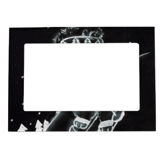 Teddy Bear Skiing in Black and White Magnetic Photo Frames