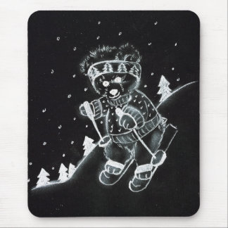 Teddy Bear Skiing in black and white Mouse Pad