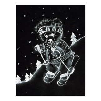 Teddy Bear Skiing in Black and White Postcard