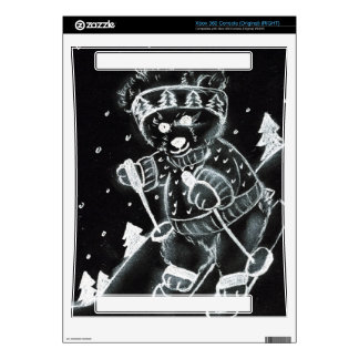 Teddy Bear Skiing in Black and White Xbox 360 Decal