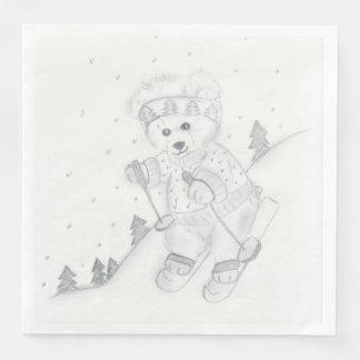Teddy Bear Skiing Paper Dinner Napkin