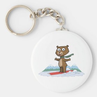 Teddy Bear Snowboarder Keychain