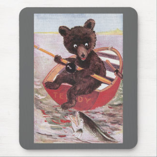 Teddy Bear Spies a Big Fish Mouse Pad