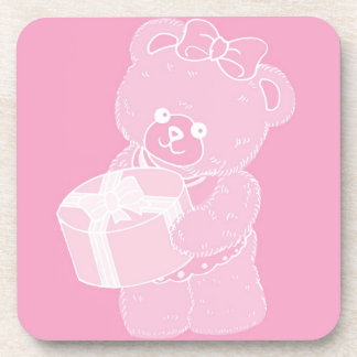 Teddy Bear, Standing, Pale Pink for Girls Beverage Coaster