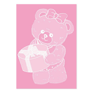 Teddy Bear, Standing, Pale Pink for Girls Business Card Templates