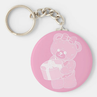Teddy Bear, Standing, Pale Pink for Girls Key Chain