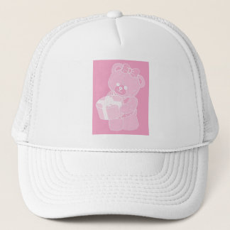 Teddy Bear, Standing, Pale Pink for Girls Trucker Hat