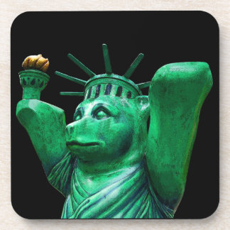 Teddy Bear,Statue of Liberty,Black Back Beverage Coaster