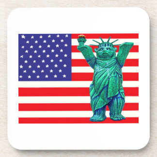 Teddy Bear,Statue of Liberty & USA Flag(3) Coaster
