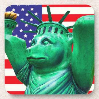 Teddy Bear,Statue of Liberty & USA Flag(4) Drink Coaster