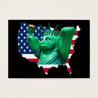 Teddy Bear,Statue of Liberty, USA Map, Black Business Card