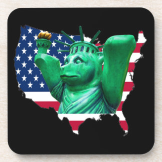Teddy Bear,Statue of Liberty, USA Map, Black Coaster