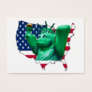 Teddy Bear,Statue of Liberty, USA Map, White Business Card