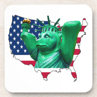 Teddy Bear,Statue of Liberty, USA Map, White Coaster