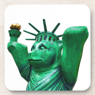 Teddy Bear,Statue of Liberty,White Back Beverage Coaster