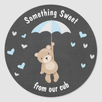 Teddy bear Sticker favor tag woodland Boy Blue