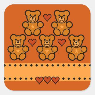 Teddy Bear stickers, customize Square Sticker