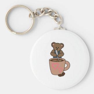 TEDDY BEAR STIRRING COFFEE BASIC ROUND BUTTON KEYCHAIN