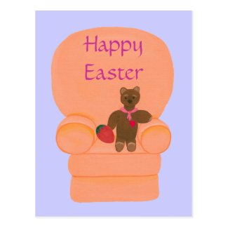 Teddy Bear Strawberry Egg Happy Easter Postcards