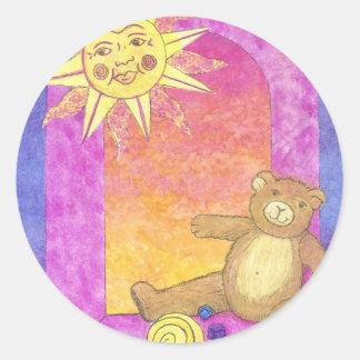 Teddy Bear Sun Set Round Stickers