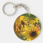 Teddy Bear Sunflowers: Kansas Basic Round Button Keychain
