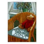 Teddy Bear: Sunny Window: Art: New Baby Greeting Card