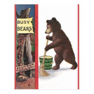 Teddy Bear Sweeping Floor Post Cards
