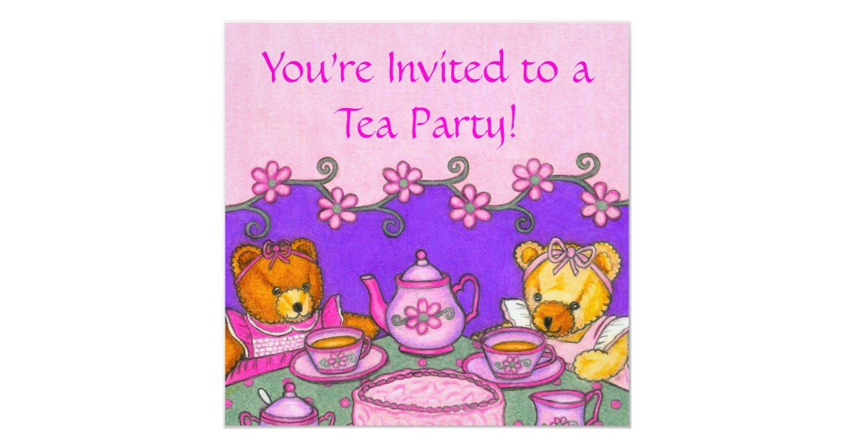 Teddy Bear Tea Party Invitation Cards | Zazzle.com