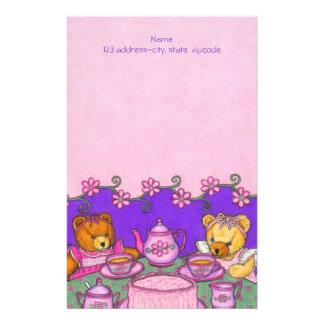 Teddy Bear Tea Party ~Letterhead Paper Stationery