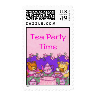 Teddy Bear Tea Party Time Postage Stamps