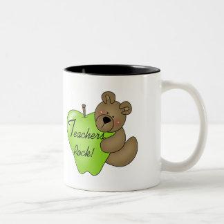 Teddy Bear Teachers Rock Two-Tone Coffee Mug