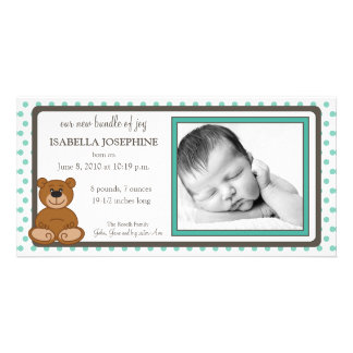 Teddy Bear Teal Customized Birth Announcement