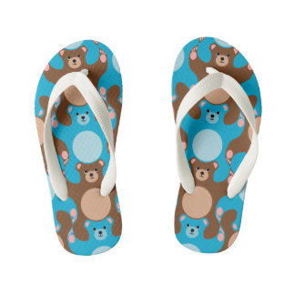 Teddy Bear Tesselation Blue & Brown Kid flip-flop Kid's Flip Flops