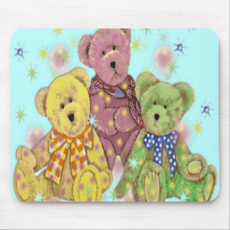 Teddy Bear Three Blue Mouse Pad