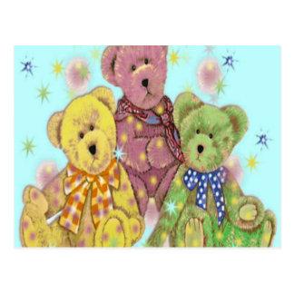 Teddy Bear Three Blue Postcard