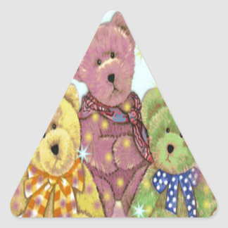 Teddy Bear Three Blue Triangle Sticker