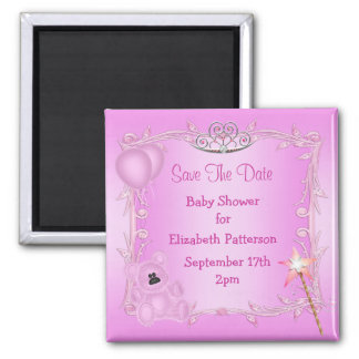 Teddy Bear & Tiara Pink Baby Shower Save The Date 2 Inch Square Magnet
