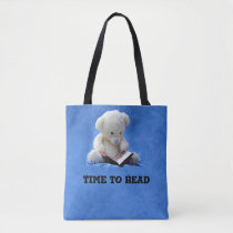 Teddy Bear Time to Read All-Over-Print Tote Bag