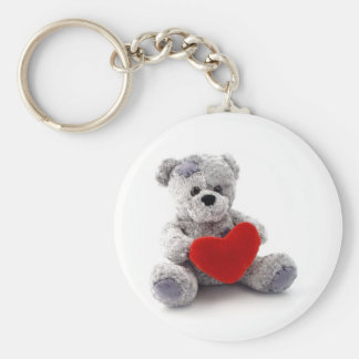 Teddy Bear Toy Holding A Heart On White Background Basic Round Button Keychain