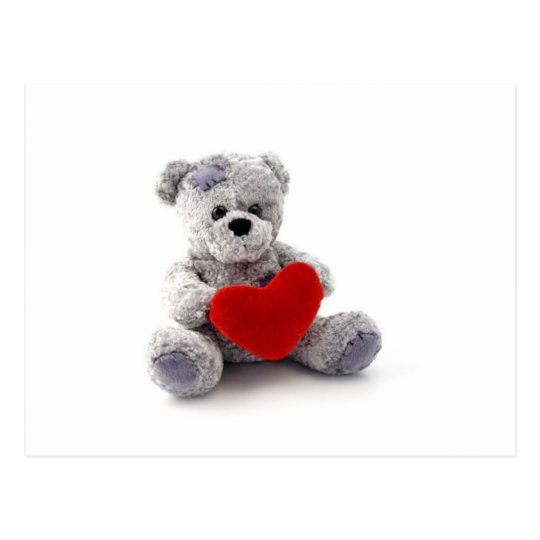 Teddy Bear Toy Holding A Heart On White Background Postcard