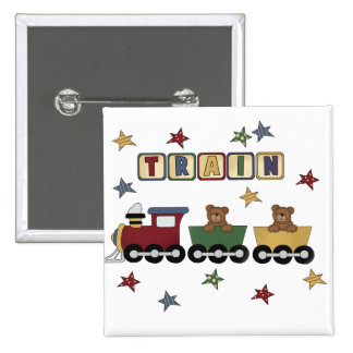 Teddy Bear Train Tshirts and Gifts Button