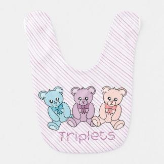 Teddy Bear Triplets Baby Bib