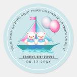 Teddy Bear | Twin Boys Baby Shower Favor Stickers