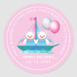 Teddy Bear | Twin Girl Baby Shower Favor Stickers