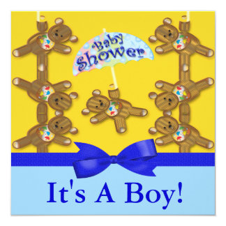 Teddy Bear Umbrella Boy Baby Shower Invite