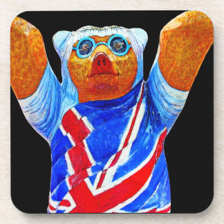 Teddy Bear,Union Jack (UK) Flag, Black Back Beverage Coaster