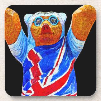 Teddy Bear,Union Jack (UK) Flag, Black Back Beverage Coaster